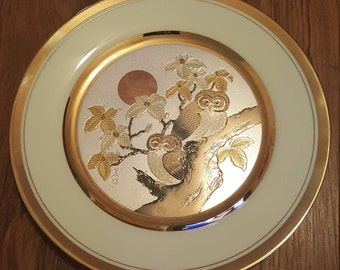 Vintage Limited edition numbered 24kt gold trimmed Chokin owl art plate by Yoshinobu Hara, vintage owl plate, owl art, collectible plate