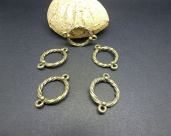 5 twisted ethnic round connectors 22 * 16mm bronze (8SCB21)