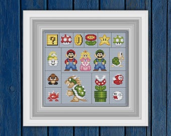 The Universe of Mario - cross stitch pattern PDF | Super mario cross stitch | Mario Brothers | Retro games cross stitch |