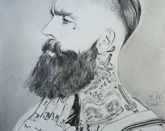 Portrait. Tattooed bearded man