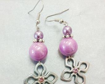 hollowed with Rhinestones + pearls purple and purple diamond earrings
