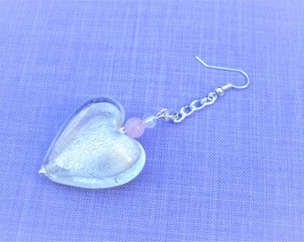Silver plated earrings with a heart topped with silver foil / rose quartz beads and rock crystal / love and positive energy