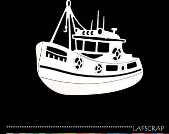 2 scrapbooking scrap cut boat fishing boat ship sea fishing cut paper embellishment die cut creation