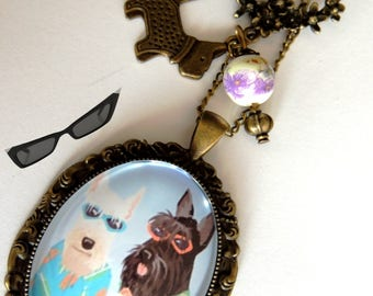 "Necklace/pendant / necklace/cabochon / vintage ""My dog"" bronze metal."