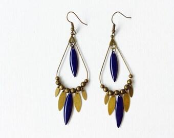 Long bronze earrings - dark blue and bronze sequins