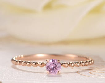 Pink Sapphire Engagement Ring Rose Gold Stacking Ring Eternity Antique Beaded Retro Solitaire Ring Anniversary Women Promise Birthstone Ring