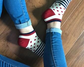 Polka Dot Socks | Dotted Socks | Short Socks | Ankle Socks | Women Socks | Pattern Socks | Striped Socks | Summer Pattern Socks