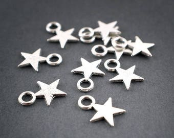 10 pcs - star small charms charms • silver • 12mm
