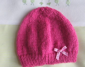 "Handmade knit hat/Hat baby ""birth"" pink and gingham girl bow-"