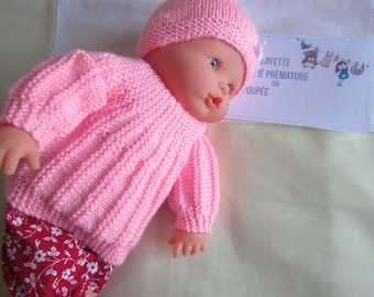 Clothes for Doll or premature baby from 40-45 cms - jacket and hat handmade knit color pink