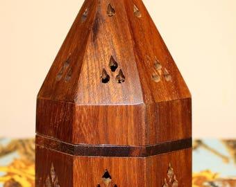 Wood Charcoal Burner, Wood Cone Incense Burner, Temple Incense Burner
