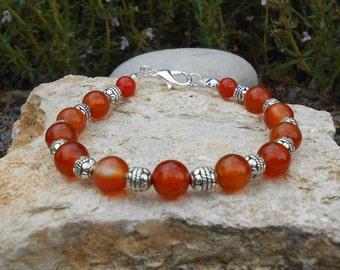 Bracelet carnelian round beads, length 20 cm, gift for her, bracelet beads