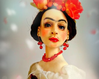 sold. art doll Frida, artist rug doll, collection doll Frida Kahlo inspiration, OOAK art doll, cloth doll, rug doll ooak Frida