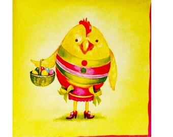 Set of 3 napkins PAQ002 animals dressed as eggs