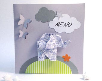 Menu for baptism, birthday,... personalized origami elephant theme, size: 14 by 14 cm paper 210g