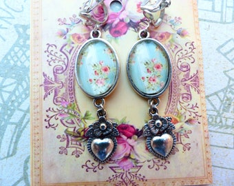 Shabby chic earrings cabochon