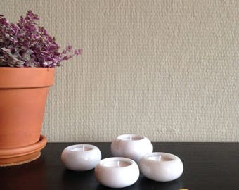 Marble Waxinelichthouders-Candle Holder-set of 4-white-grey marble-vintage