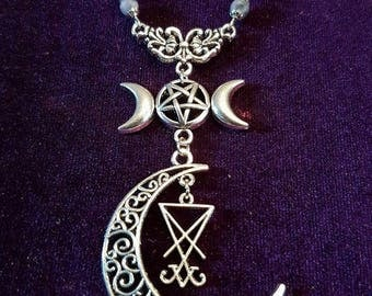 Hecate necklace - hecate lucifer  lefthandpath occult gothic pentagram sigiloflucifer baphomet pentagram satanic pagan moon witch
