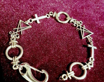 Luciferian Bracelet with inverted cross - occult goth gothic anti christ left hand path sigil of lucifer