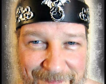 Silver Dragon, Black Leather Headband