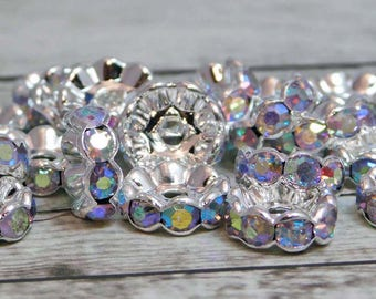 25 or 50pcs - 10mm - Rhinestone Rondelle - Silver Spacer Bead - Rhinestone Beads - Crystal Spacers - Rhinestone Spacers - (3481)