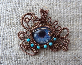 All Seeing Eye Pendant Amulet - Evil Eye Protection - OOAK