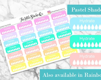 Pastel Hydrate Planner Stickers | Hydrate Stickers | Water Tracking | Fitness | Fits most planners including Erin Condren and Happy Planner