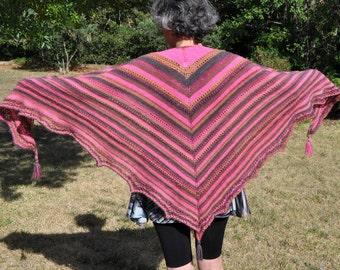 Knitted acrylic wool stitch lace shawl