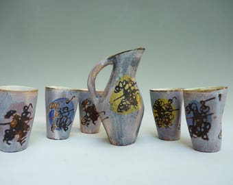original serving pitcher and 5 cups vintage 60s ceramic Camos from Vallauris