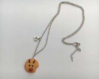 Reindeer Christmas cookie necklace