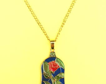 Beauty and the Beast Necklace Rose Stained Glass Disney Belle Inspired Jewelry
