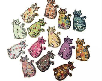 Set of 5 colorful cats wood buttons