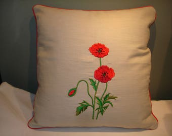 Cushion cover embroidered sweet poppy