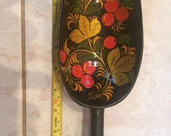A rare large scoop Khokhloma hand-painted USSR 1950s