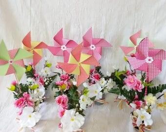 Windmills with flower centerpiece