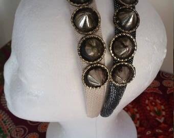 Tribal Fusion Belly Dance Spike Headband, Costume Headdress, Light Silver Option