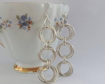 Sterling Silver Chainmaille Earrings / Triple Hoop Earrings