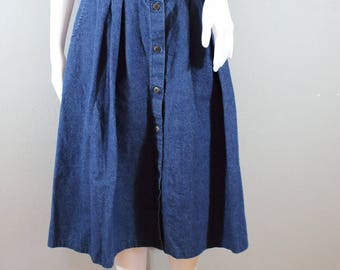 90s button front jean skirt/25 waist/Chic brand, denim skirt, midi skirt, high waisted