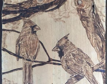 Wood burned Cardinals
