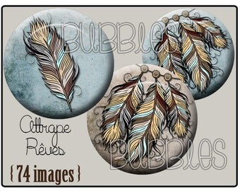 Digital collage sheets - Dreamcatcher, feathers Printable Images Digital Collage Sheet for Jewelry Making