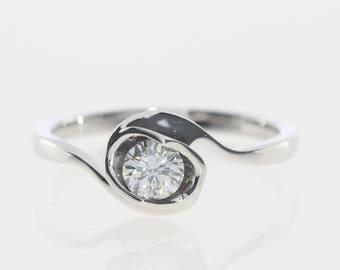 14k white gold ring, Diamond Ring, 0.35 ct , White Gold Diamond Engagement Ring, Diamond Anniversary Ring, FREE SHIPPING