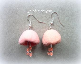 Handmade polymer clay Pink Flower Earrings