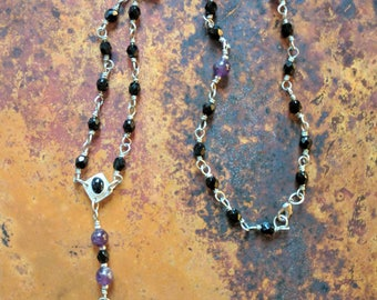 Hand made 3-section silver rosary