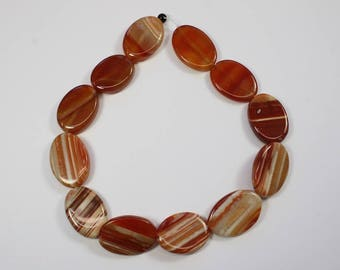 Carnillian Gemstone, Brown, Faceted Beads, Carmel, Striped Beads, Oval Shaped, DIY, BS288