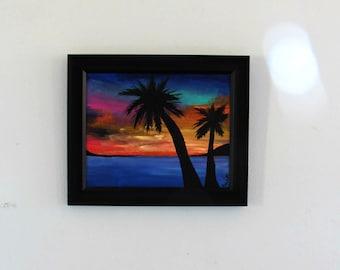 Acrylic Beach Sunset Scene 8x10