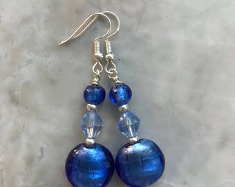 Cobalt Blue SIlver Foil Glass Bead Earrings