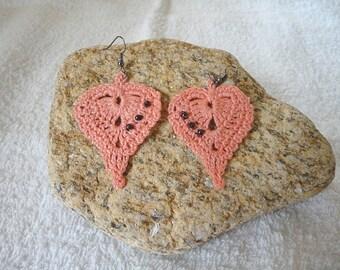 Earrings crochet orange fine cotton with pearls, jewel woman shape leaf