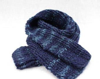 Soft & Chunky Hand Knitted Keyhole Scarf - Navy Blue Ombre