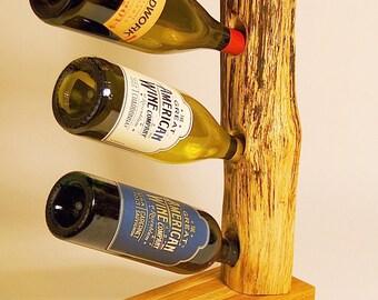 Split pine log 3 bottle wine holder
