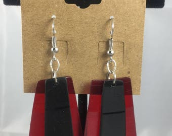 Red and Black Layered Vinyl Earrings